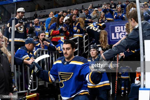 Robby Fabbri of the St Louis Blues greets fans before warmups against the Carolina Hurricanes at Enterprise Center on November 6 2018 in St Louis...