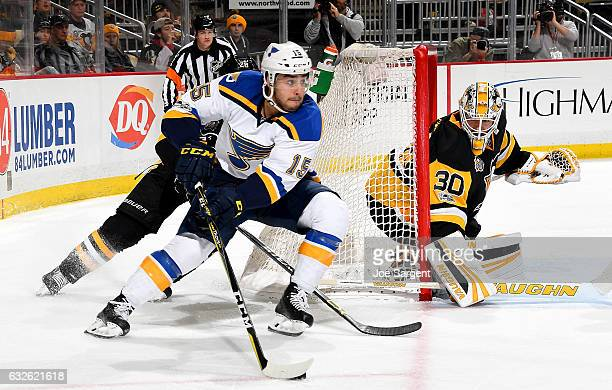 Robby Fabbri of the St Louis Blues handles the puck against Matt Murray of the Pittsburgh Penguins at PPG Paints Arena on January 24 2017 in...