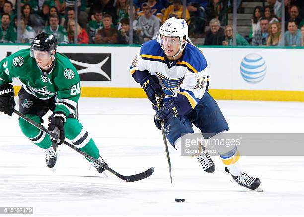 Robby Fabbri of the St Louis Blues handles the puck against the Dallas Stars at the American Airlines Center on March 12 2016 in Dallas Texas