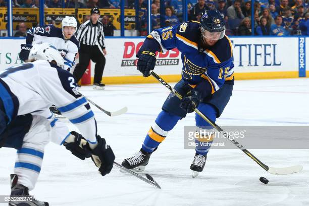 Robby Fabbri of the St Louis Blues handles the puck against the Winnipeg Jets at the Scottrade Center on January 31 2017 in St Louis Missouri