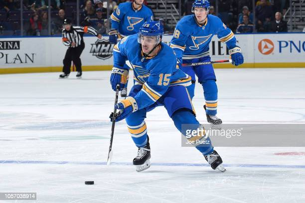 Robby Fabbri of the St Louis Blues handles the puck against the Minnesota Wild at Enterprise Center on November 3 2018 in St Louis Missouri