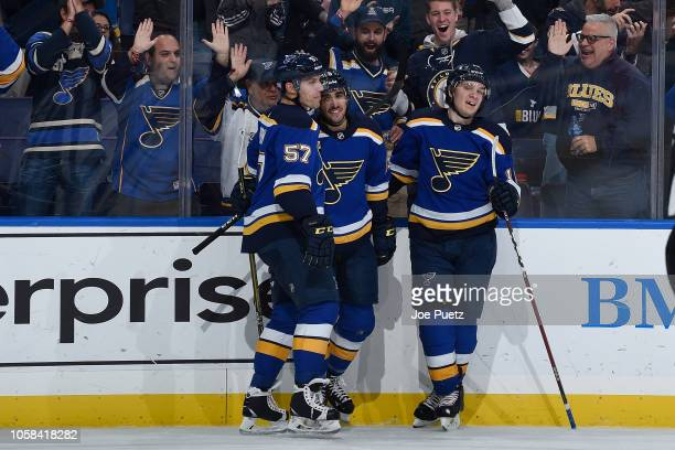 Robby Fabbri of the St Louis Blues is congratulated by teammates after scoring a goal against the Carolina Hurricanes at Enterprise Center on...