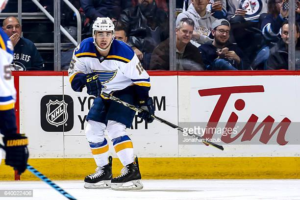 Robby Fabbri of the St Louis Blues keeps an eye on the play during second period action against the Winnipeg Jets at the MTS Centre on January 21...