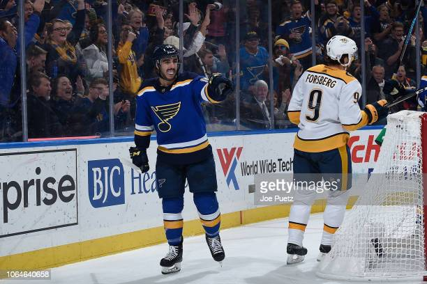 Robby Fabbri of the St Louis Blues reacts after scoring a goal against the Nashville Predators at Enterprise Center on November 23 2018 in St Louis...