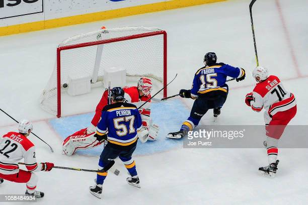 Robby Fabbri of the St Louis Blues scores a goal against the Carolina Hurricanes at Enterprise Center on November 6 2018 in St Louis Missouri