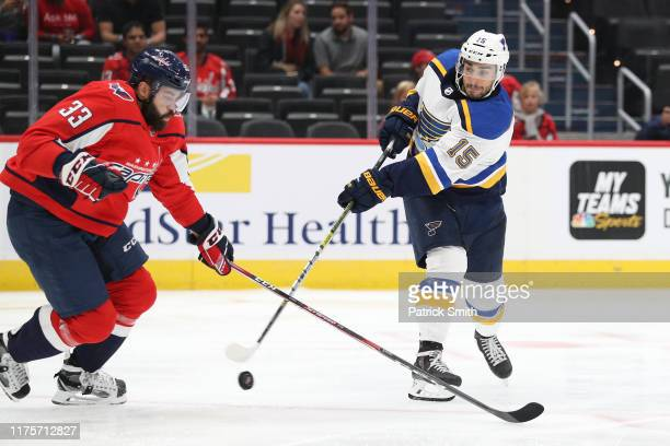 Robby Fabbri of the St Louis Blues shoots against the Washington Capitals during the first period of a preseason NHL game at Capital One Arena on...