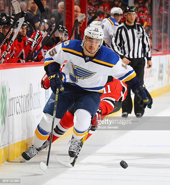 Robby Fabbri of the St Louis Blues skates against the New Jersey Devils at the Prudential Center on December 9 2016 in Newark New Jersey