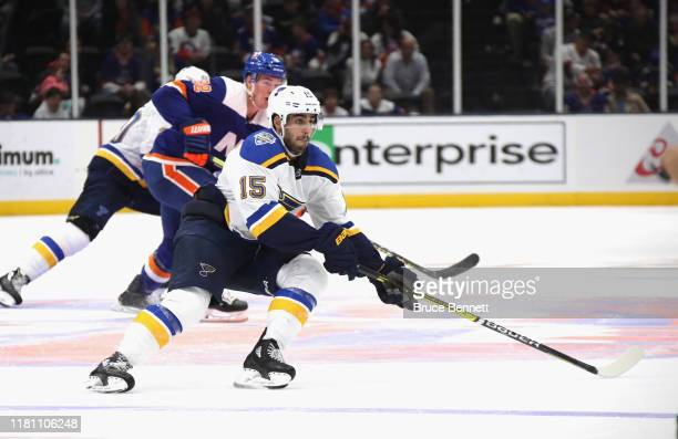 Robby Fabbri of the St Louis Blues skates against the New York Islanders at NYCB Live's Nassau Coliseum on October 14 2019 in Uniondale New York The...