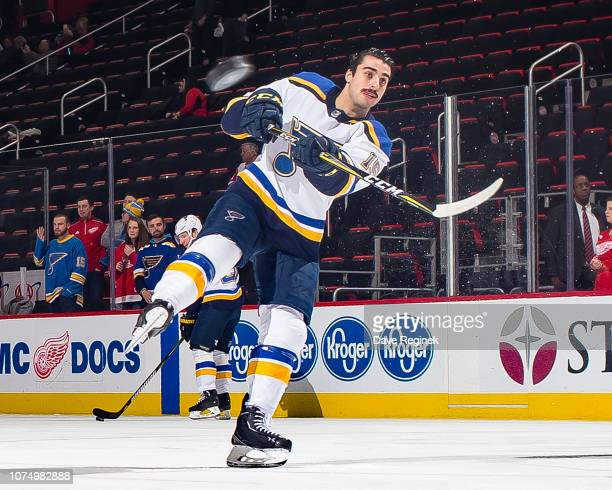 Robby Fabbri of the St Louis Blues skates in warmups prior to an NHL game against the Detroit Red Wings at Little Caesars Arena on November 28 2018...
