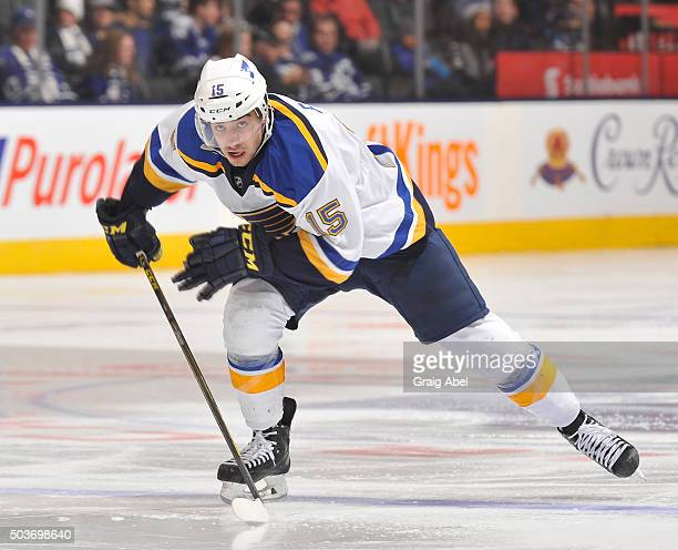 Robby Fabbri of the St Louis Blues skates up ice against the Toronto Maple Leafs during game action on January 2 2016 at Air Canada Centre in Toronto...