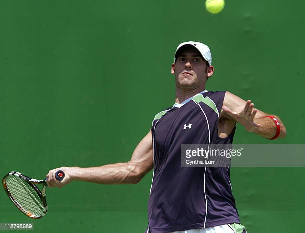 Robby Ginepri of the USA in action defeating Nicolas Almagro of Spain 46 62 46 75 63 during the first round match at the 2007 Australian Open at...