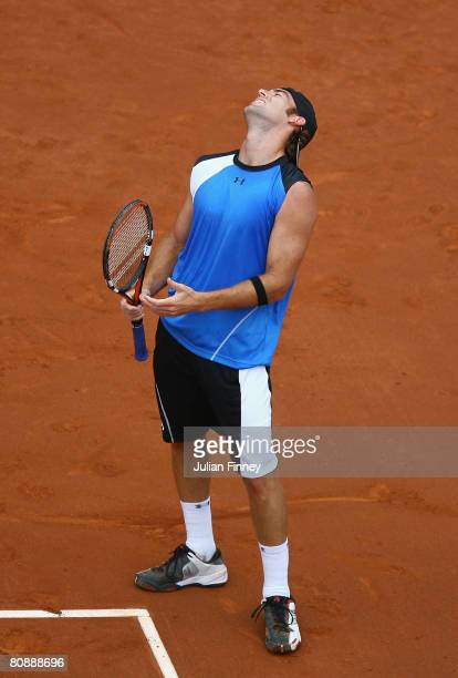 Robby Ginepri of United States looks to the sky after losing a game against Yuri Schukin of Kazakhstan during the Open Sabadell Atlantico Barcelona...