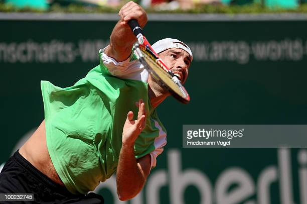 Robby Ginepri of USA in action during his final match against Horacio Zeballos of Argentina during day seven of the ARAG World Team Cup at the...