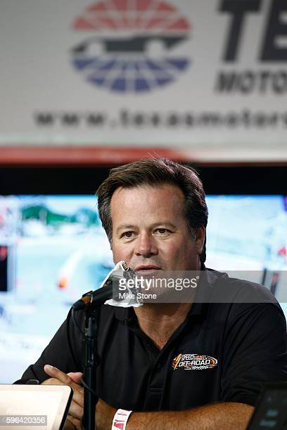 Robby Gordon answers a question during a media conference regarding regarding the SPEED Energy Stadium SUPER Trucks being added to the TMS schedule...