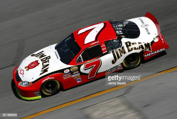 Robby Gordon driver of the Jim Beam Chevrolet in action during practice for the NASCAR Nextel Cup Daytona 500 on February 12 2005 at the Daytona...