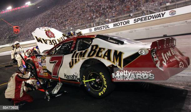 Robby Gordon driver of the Jim Beam Chevrolet in the pits during the NASCAR Nextel Cup Series Sharpie 500 on August 27 2005 at the Bristol Motor...