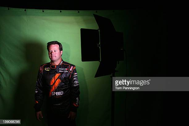 Robby Gordon driver of the Speed Energy Dodge attends NASCAR Media Day at Daytona International Speedway on February 16 2012 in Daytona Beach Florida
