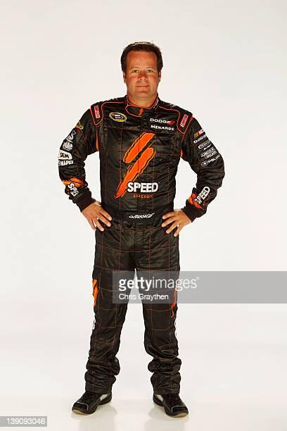 Robby Gordon driver of the Speed Energy Dodge poses during NASCAR Media Day at Daytona International Speedway on February 16 2012 in Daytona Beach...