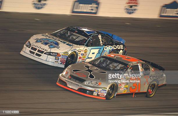 NASCAR Robby Gordon Kasey Kahne during the Nextel cup UAWGM Quality 500 at Lowe's Motor Speedway in Concord NC on Oct 16 2004