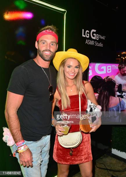 Robby Hayes and Juliette Porter attend The Neon Carnival with POKÉMON Detective Pikachu and The LG Mobile Experience on April 27 2019 in Thermal...