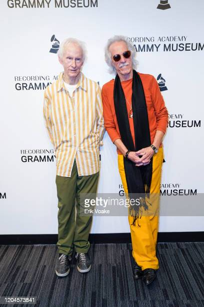 Robby Krieger and John Densmore of The Doors at The GRAMMY Museum on February 06 2020 in Los Angeles California