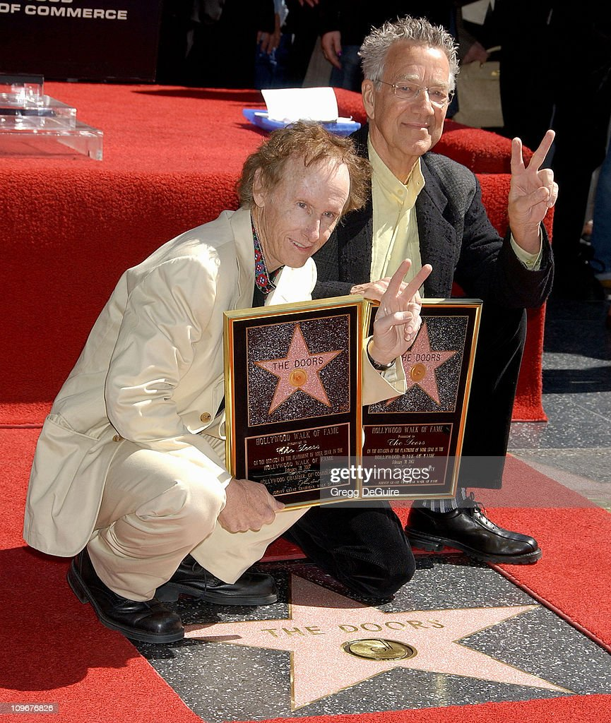 Robby Krieger and Ray Manzarek of The Doors during The Doors Celebrate 40th Anniversary with a Star on the Hollywood Walk of Fame at Hollywood Blvd. in Hollywood, California, United States.