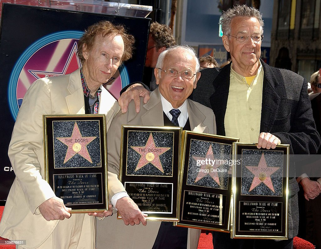 Robby Krieger and Ray Manzarek of The Doors with Johnny Grant, Honorary Mayor of Hollywood