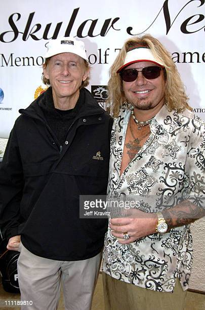 Robby Krieger and Vince Neil during 2005 Skylar Neil Memorial Golf Tournament for TJ Martell at Malibu Country Club in Malibu California United States