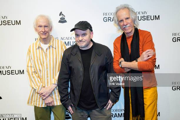 Robby Krieger Director Justin Kreutzmann and John Densmore at The GRAMMY Museum on February 06 2020 in Los Angeles California