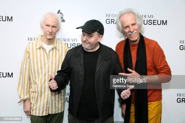 Robby Krieger Justin Kreutzmann and John Densmore attend Reel To Reel The Doors Break On Thru – A Celebration Of Ray Manzarek at the GRAMMY Museum on...