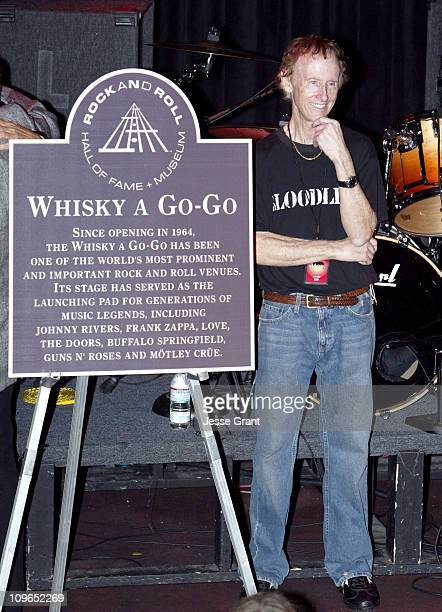 Robby Krieger of The Doors with the Rock and Roll Hall of Fame plaque commemorating the Whisky A Go Go in Hollywood CA