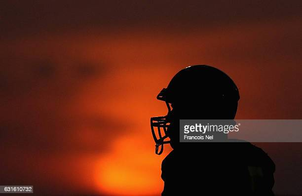 Robby Lopez of Abu Dhabi Wild Cats looks on during the Emirates American Football League match between Abu Dhabi Wild Cats and Al Ain Desert Foxes at...