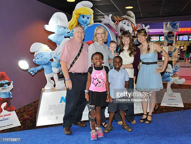 Robby Novak also known as Kid President attends the Nashville Super Smurfs Sunday blue carpet screening with guests at Regal Green Hills on July 28...