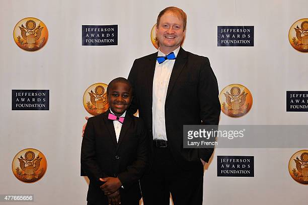 Robby Novak and Brad Montague cocreators of Kid President appear at the Jefferson Awards Foundation 43rd Annual National Ceremony on June 18 2015 in...