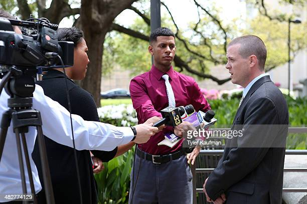 Robby Reed who was denied health coverage because he fell into the Medicaid gap speaks with the media after a court session on April 2 2014 in Baton...