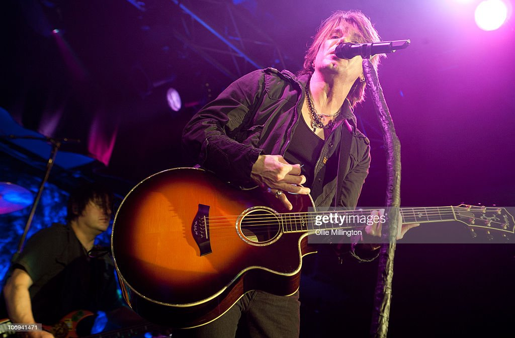 Robby Takac and John Rzeznik of Goo Goo Dolls perform on stage at O2 Academy on November 17, 2010 in Leicester, England.