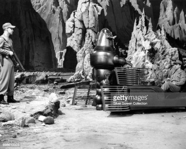Robby the Robot meets the starship crew in the science fiction classic 'Forbidden Planet' 1956
