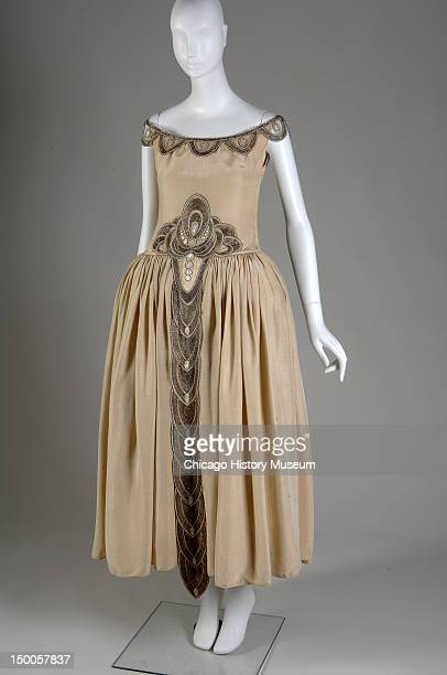 Robe de Style, 1927 . Silk moire, glass beads, pearls, metallic thread by Jeanne Lanvin; worn by Mrs. Charles S. Dewey when presented at the Court of...