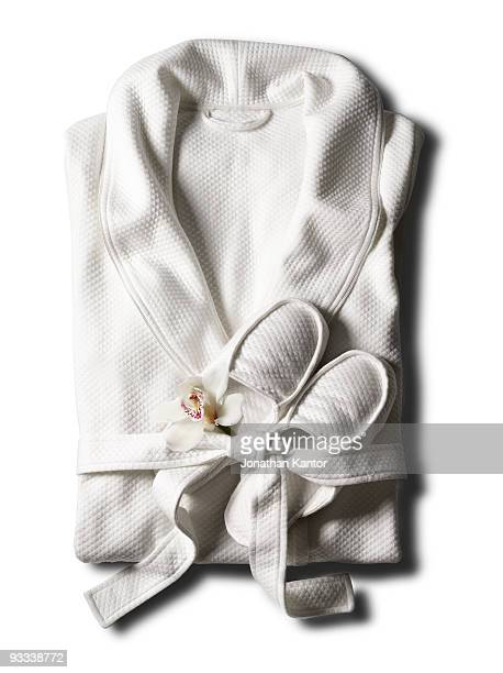 robe with a flower - bathrobe stock pictures, royalty-free photos & images