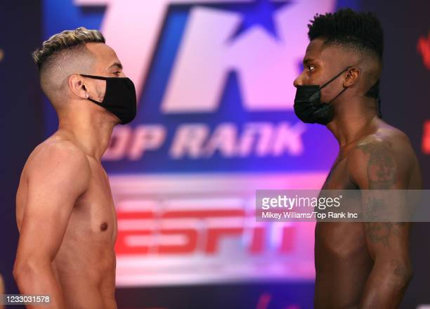 Robeisy Ramirez and Ryan Lee Allen face-off during the weigh-in at Virgin Hotels Las Vegas on May 21, 2021 in Las Vegas, Nevada.