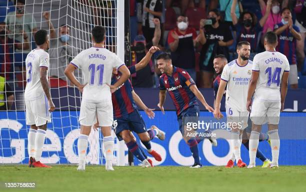 Rober Pier of Levante celebrates after scoring their team's third goal during the LaLiga Santander match between Levante UD and Real Madrid CF at...