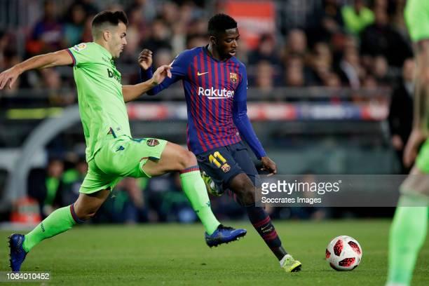 Rober Pier of Levante UD Ousmane Dembele of FC Barcelona during the La Liga Santander match between FC Barcelona v Levante at the Camp Nou on January...