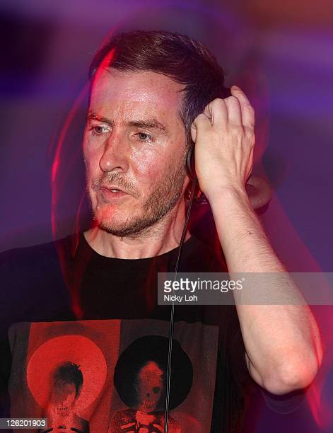Robert '3D' Del Naja of Massive Attack performs on stage during the Singapore Formula One Grand Prix at the Esplanade on September 23 2011 in...