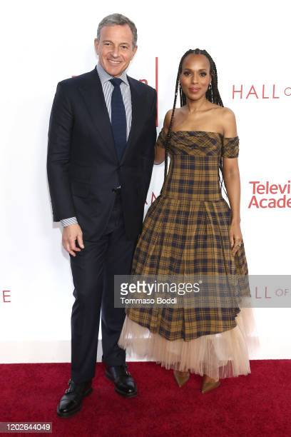 Robert A Iger and Kerry Washington attend the Television Academy's 25th Hall Of Fame Induction Ceremony at Saban Media Center on January 28 2020 in...