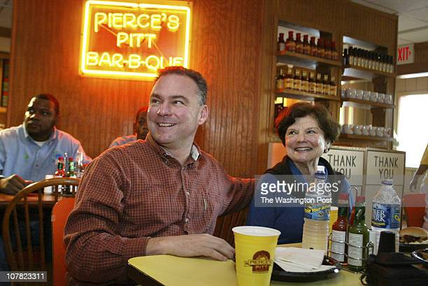 Robert A Reeder TWP Preinaug preparations and BBQ lunch with volunteers at Pierce's Pitt BarBQue The day before his inauguration Govelect Time Kaine...