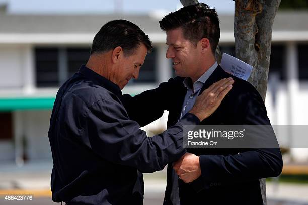 Robert A. Schuller and Bobby Schuller speak before a press conference at Shepherd's Grove April 2, 2015 in Garden Grove, California. Televangelist...