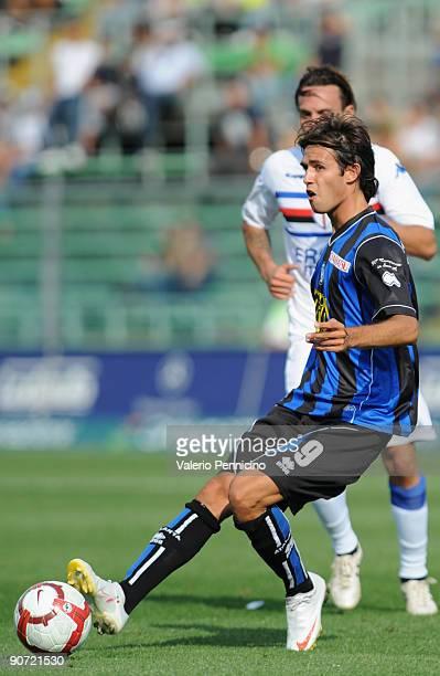 Robert Acquafresca of Atalanta BC in action during the Serie A match between Atalanta BC and UC Sampdoria at Stadio Atleti Azzurri d'Italia on...