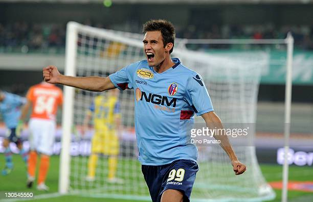 Robert Acquafresca of Bologna celebrates after scoring his opening goal during the Serie A match between AC Chievo Verona and Bologna FC at Stadio...
