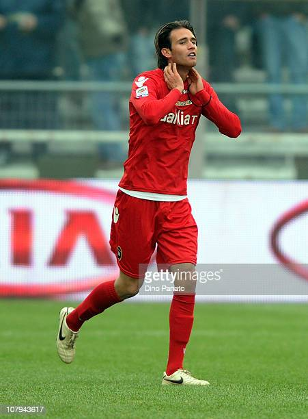 Robert Acquafresca of Cagliari celebrates after scoring the opening goal of the Serie A match between Parma FC and Cagliari Calcio at Stadio Ennio...