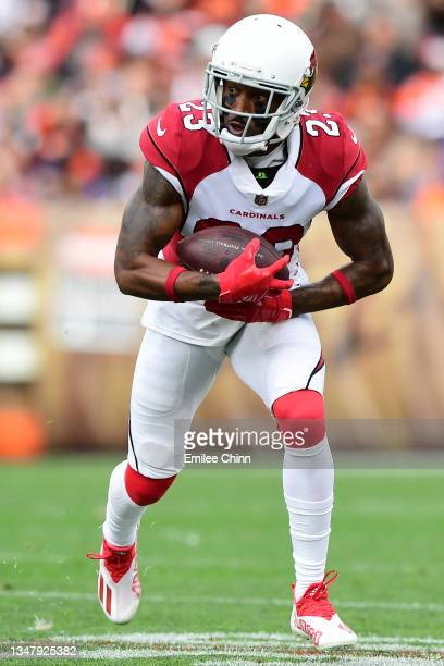 Robert Alford of the Arizona Cardinals carries the ball after an interception during a game against the Cleveland Browns at FirstEnergy Stadium on...